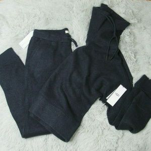 UGG WOOL JERSEY KNIT FUNNEL NECK NAVY SWEAT SET